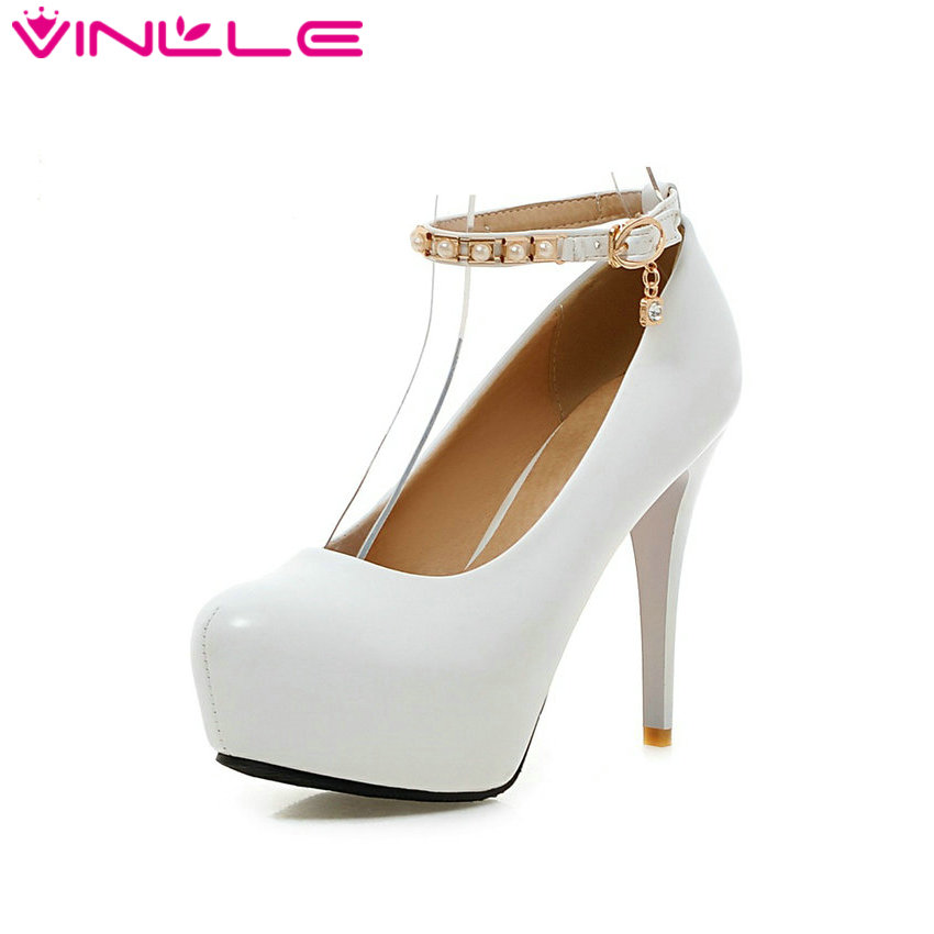 VINLLE 2017 Women Pumps Beading Ankle Strap Sexy High Heel Shoes Thin Heel Round Toe Shoes Pink Women's Wedding Shoes Size 34-43 vinlle 2017 women pumps college style square med heel vintage slip on pu leather shoes casual round toe girl shoes size 34 40