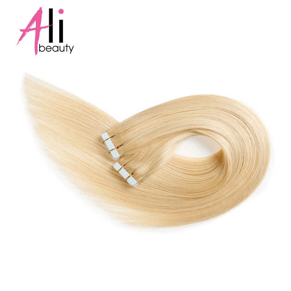 ALI BEAUTY Skin Weft Tape In Human Hair Extensions 20 Pcs/set Brazilian Straight Hair Adhesives Invisible PU Tape Ins Remy Hair