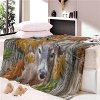 Seasons Throw Blanket Floral Deer Sherpa Fleece Blanket for Beds Sofa Elk Maternal Love Bedding