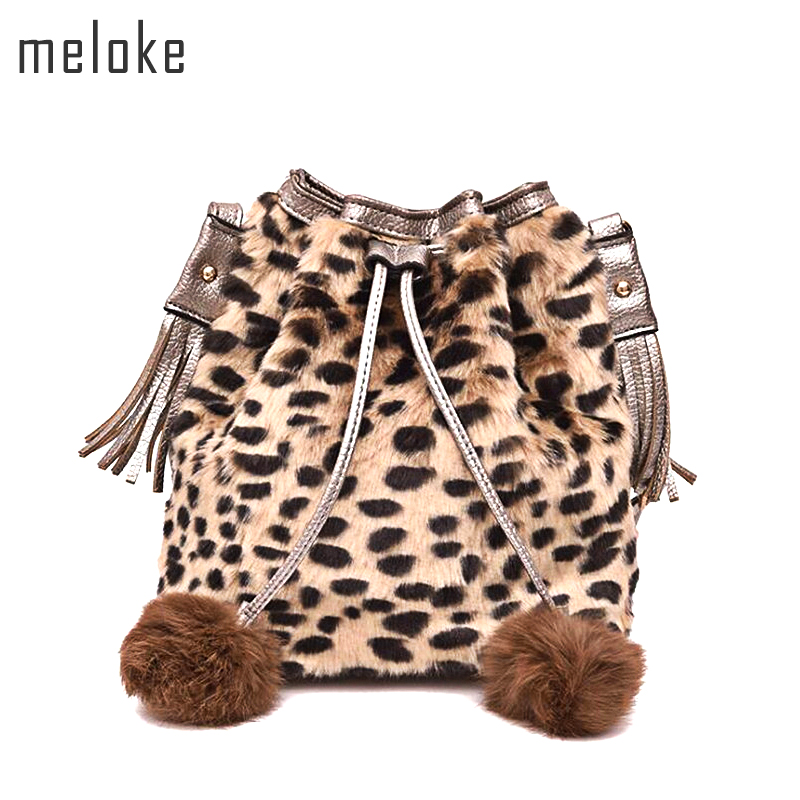 Detail Feedback Questions about Meloke 2018 new women fur bucket bags for  girls Leopard mini Drawstring bags fashion women shoulder bags cross body  bag ...