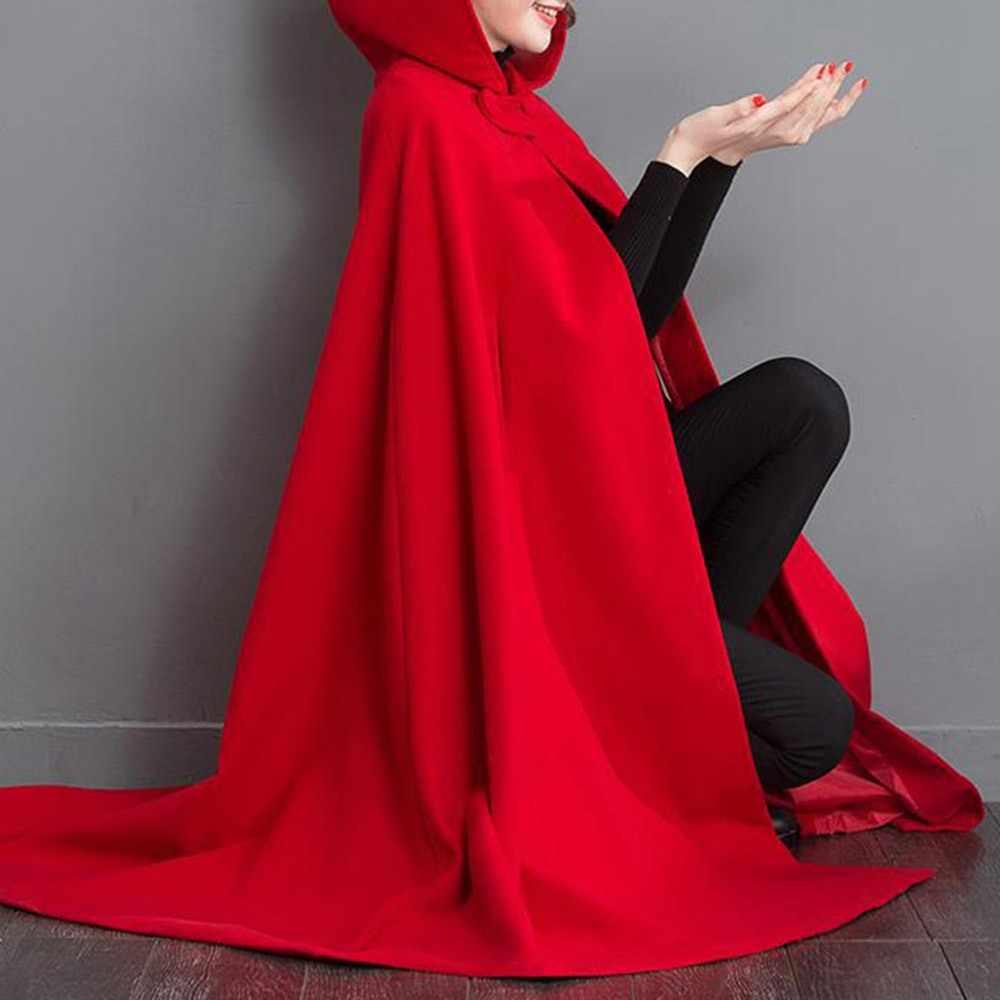 Bohoartist, женская красная зимняя плотная накидка с капюшоном, Ретро стиль, свободный шерстяной плащ, куртка с карманами, Женская пуговица, Boho, новые пончо и накидки