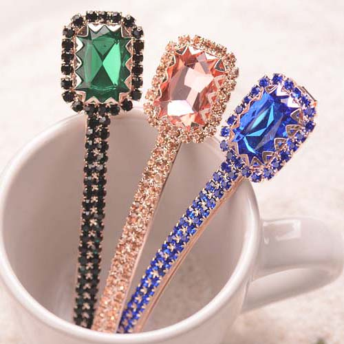 (2 PCS/LOTS)Fancy Ladies Crystal Hair Accessories Geometry Hairclip Luxury Hair Jewelry Mix Color Long Hairpin