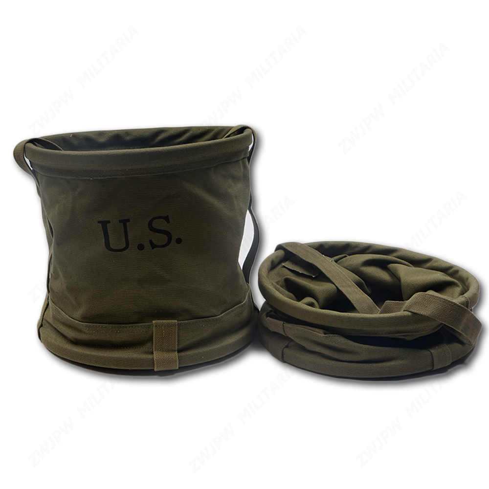 Army Greenand Canvas Water Bucket  Outdoor Fishing Foldable Pail  Waterproof For A Short Time CN/10902