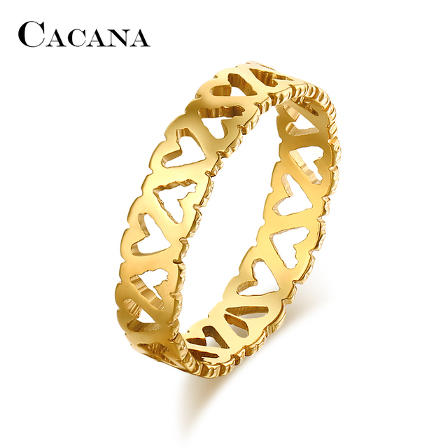 CACANA Titanium Stainless Steel Rings For Women Hollow Beautiful Pattern Fashion