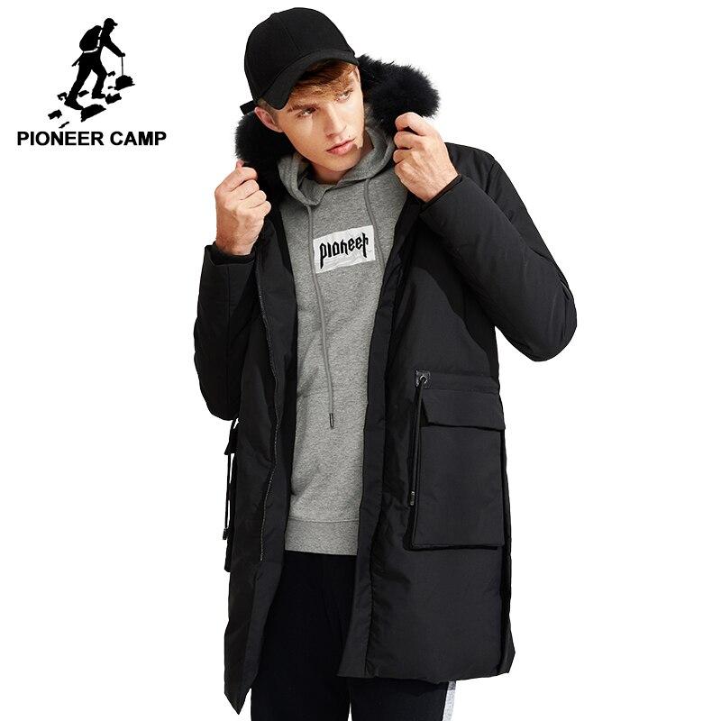 Пионерский лагерь новинка 2017 года толстая длинная зимняя куртка-пуховики мужские известная брендовая одежда черный мех мужские парки с бел...