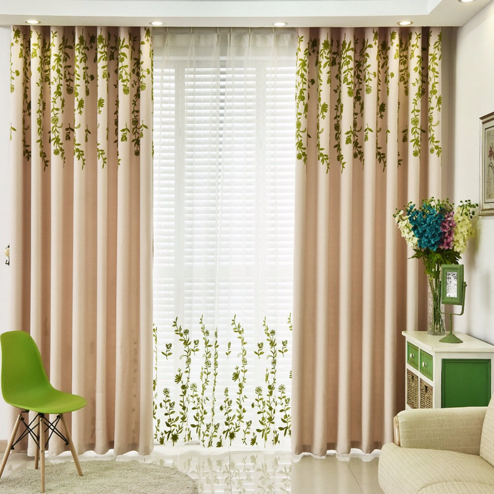 Blackout Window Curtains for Living Room Kitchen Bedroom Embroidered tulle Plant Pattern Country Styles Customized Home Decor-in Curtains from Home & ...