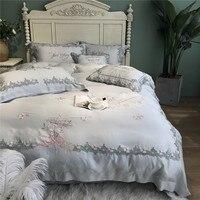 80S Embroidery Tencel 4/5pcs European Luxury Comfortable Bedding RUIYEE King size Bedding set Sheet Duvet Cover Sets Pillowcase