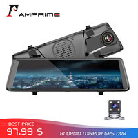AMPrime V6 10 IPS 3G Android DashCam Mirror GPS Dual Lens Car DVR Wifi Touch Screen Video Recorder Rearview Mirror Recorder