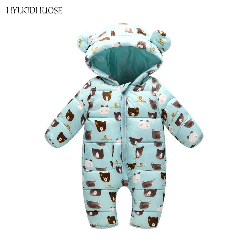 HYLKIDHUOSE Baby Girls Boys Rompers Infant Newborn Romper Autumn Winter Cartoon Hooded Children Kids Jumpsuits One Piece Clothes