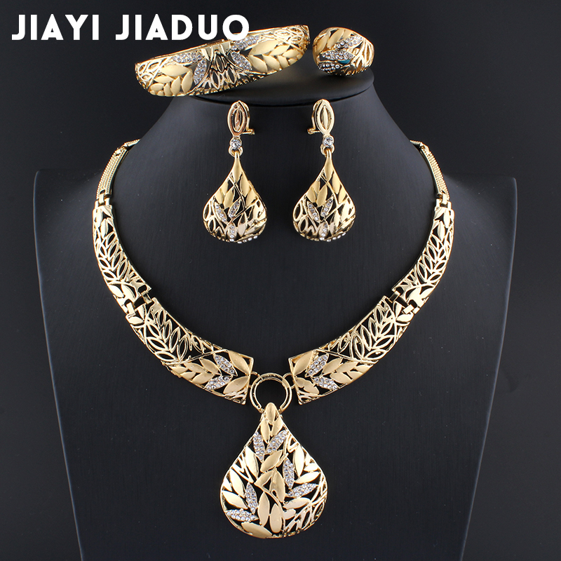 Jewelry-Sets Bracelet Necklace Earring Wedding-Decoration Leaf Indian Gold-Color Womens