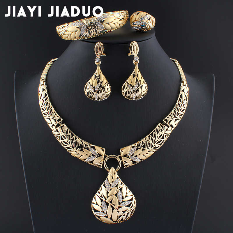 Jiayijiaduo  Indian Jewelry Sets Gold Color Necklace Leaf Earring Bracelet Wedding Decoration Jewellery for Womens Jewelry