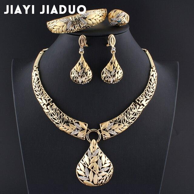 Jiayijiaduo indio conjuntos de joyería de Color oro collar de pulsera de pendiente de decoración de la boda, joyería para mujer joyería