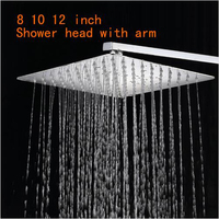 Stainless Steel Shower Head With Arm Wall Mounted Ultra thin Rain Shower Heads With 35cm Shower Arm free shipping