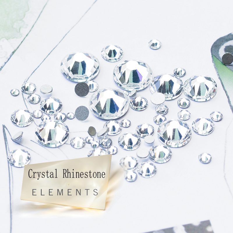 2028NoHF Rhinestones SS3-SS40 All Sizes 3D Nail Art Decorations Costura Crystal Clear Strass Crystal Non Hotfix Rhinestones glass rhinestones for nails strass nail art nail decorations new arrive manicure rhinestones on nail jewelry mjz0035