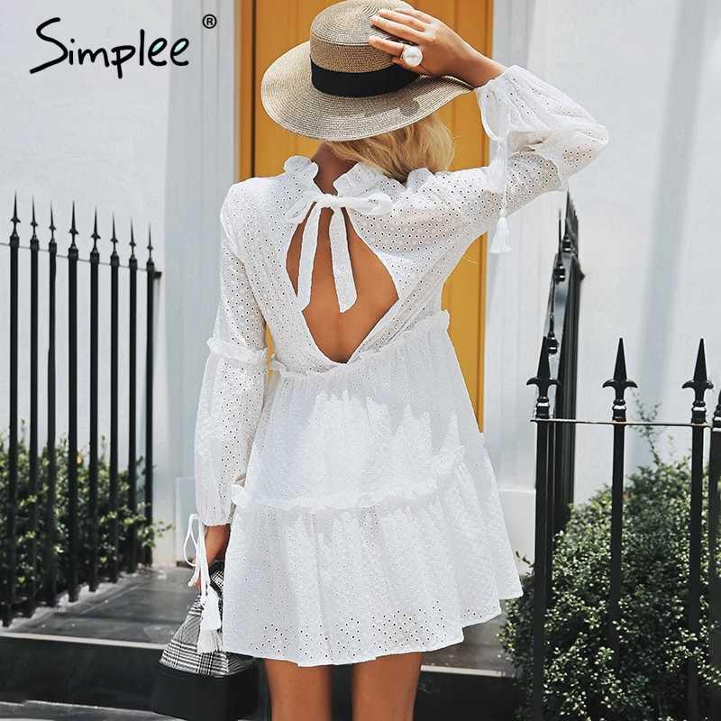 Простая вышивка выдалбливать спинки сексуальное платье Женщины Винтаж оборками фонарь рукава осеннее платье повседневное хлопковое зимнее платье