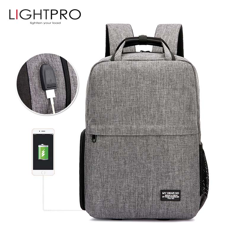 Photo DSLR Camera Shoulders Waterproof Oxford Backpack Tripod Bag fit for 14inch Laptop Case with USB