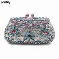 2018 Hollow Out Chain Clutch Purse Silver Crystal Evening Bag Women Wedding Party Bridal Handbags Wholesale LI 1563