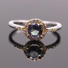 Роскошный Круглый Свадьба Кольцо Радуга AAA Кубический Циркон Позолоченные Кольца Ювелирные Изделия