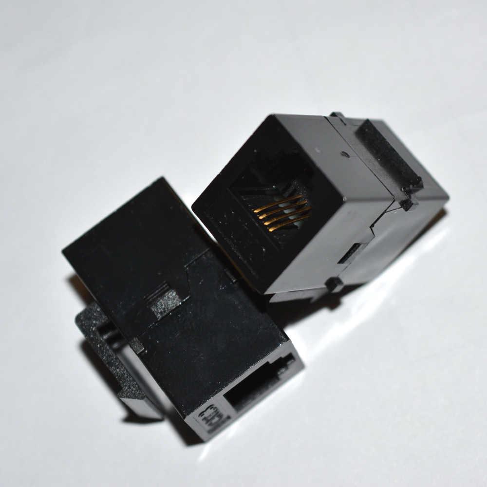 6P4C ストレート電話モジュール RJ11 コネクタ情報ソケット音声カプラケーブルアダプタ CAT3 テレコムキーストーンジャック
