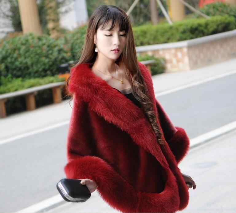 2019 Women Winter Casual Occasion Wrap Bridal Wrap Jackets Winter Warm Faux Fur Wedding Coat