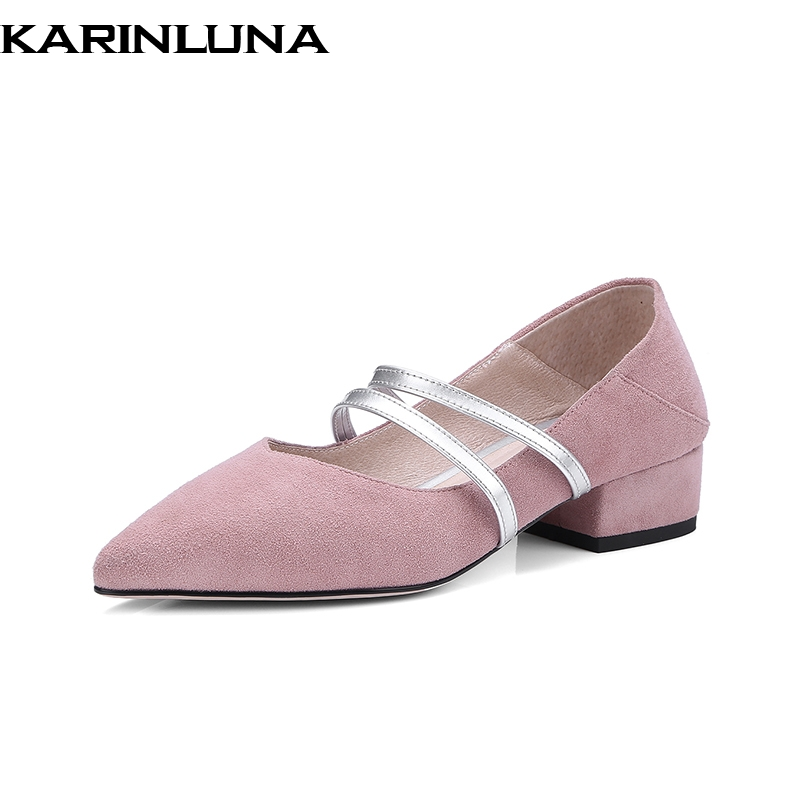 KarinLuna New Fashion Slip On Cow Suede Women Shoes Woman Spring Pumps Office Lady Pointed Toe Chunky Heels Shoes Size 34-39 new fashion woman flats spring summer women shoes top quality strappy women sandals suede pointed toe gladiator ballet pumps