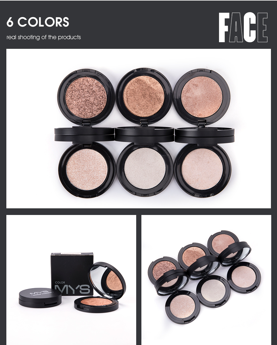 MYS brand professinal face makeup 6 color bronzer and highlighter palette powder make up glow highlighter contour palette