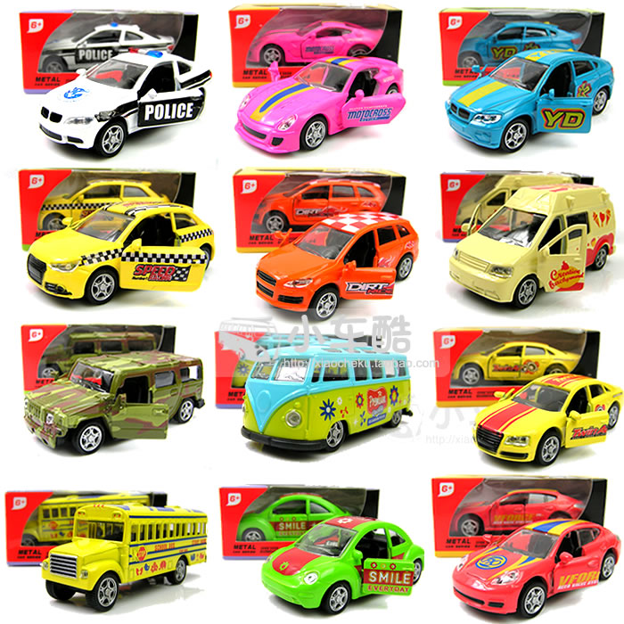 Boxed 4 your good friend mini bus school bus sports car 4wd alloy WARRIOR open the door car model toy