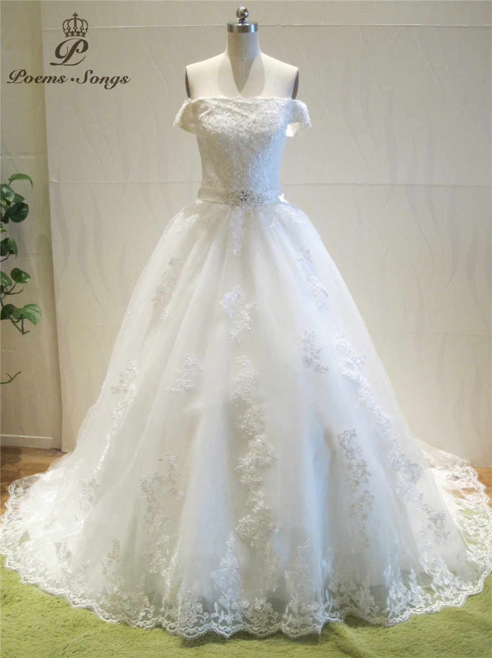 Poemssongs 2017 Luxury Custome Made High Quality Boat Neck Style Wedding Dresses For Wedding Vestido De