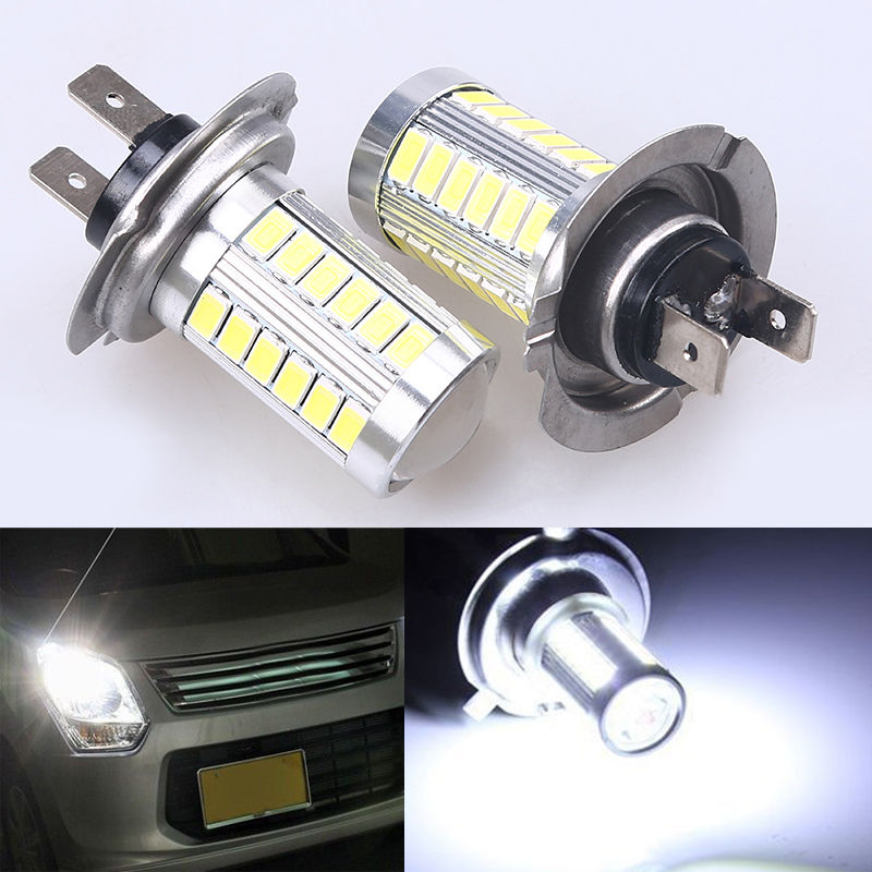 12V 1pair White High Power H7 33-SMD 5730 Car LED DRL Day Running Light Brake Bulbs Lamps Headlight For VW Audi Honda BMW Ford