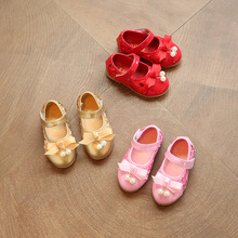 Childrens leather shoes 2017 spring new gold bow net face princess leather shoes pearl princess shoes bow tie children shoes gir