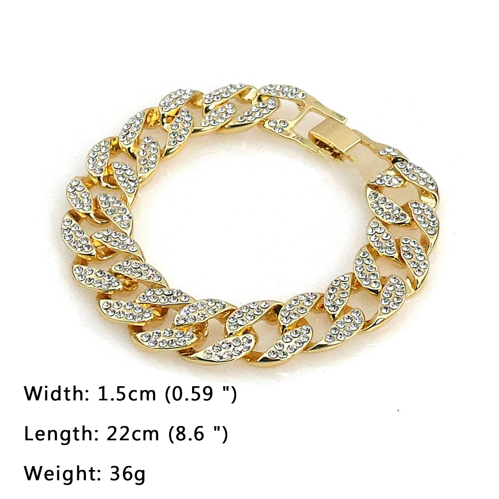 3 Pcs / Set Blingbling Hip Hop Shining stones Watch and Necklace 3