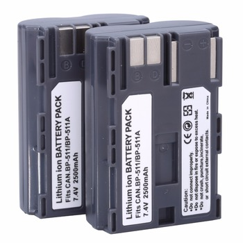 2Pcs 2500mAh BP-511 BP511A נטענת סוללה Batteria סוללות עבור Canon 20D 30D 40D 50D MV 30i 300 300i ZR20 25MC מצלמה