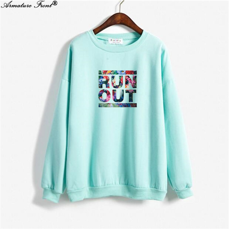 Dynamic Casual Flower English Letter Print Exo Hoodie Spring 2019 Autumn Coat Women Clothes Sweatshirt Plus Size Tops Blue Hoodies Y183 Women's Clothing