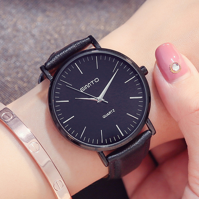 3e069698497 GIMTO Amantes Reloj de Cuero Del Cuarzo de la Marca de Lujo de Oro Rosa  Relojes