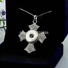 4pcs/lot new Charm Rhinestone Cross snake Chain Snap necklace  fit DIY 18MM ginger snap buttons jewlery wholesale women