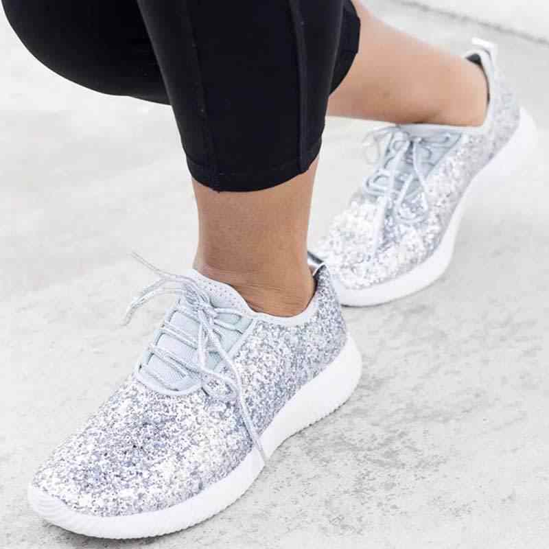 722454123f7 ... Fashion Sneakers Women Sequin Casual Shoes Lace-up Trainers Dames Bling  Shallow Shoes Sparkly White ...