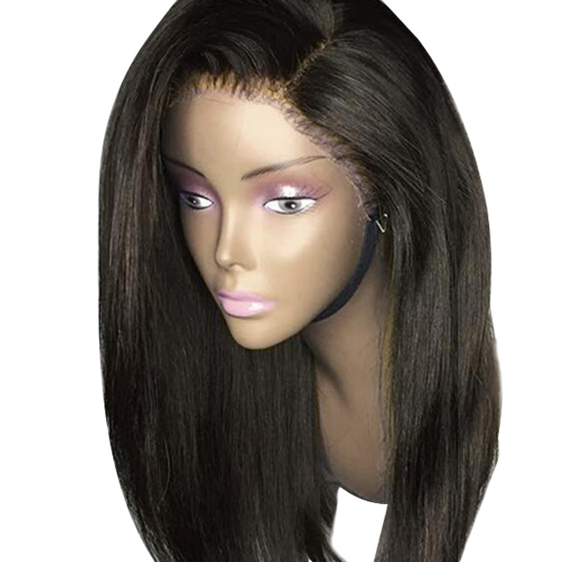 Full Shine Lace Front Wig Brazilian Human Hair Straight Black Color Glueless Lace Front Wig With Baby Hair