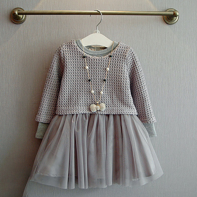 Girls Skirt Suit Spring and Autumn Fashion Trendy Solid Color Long-sleeved Shirt T-shirt Sweet Dress Two-piece Childrens Clothes