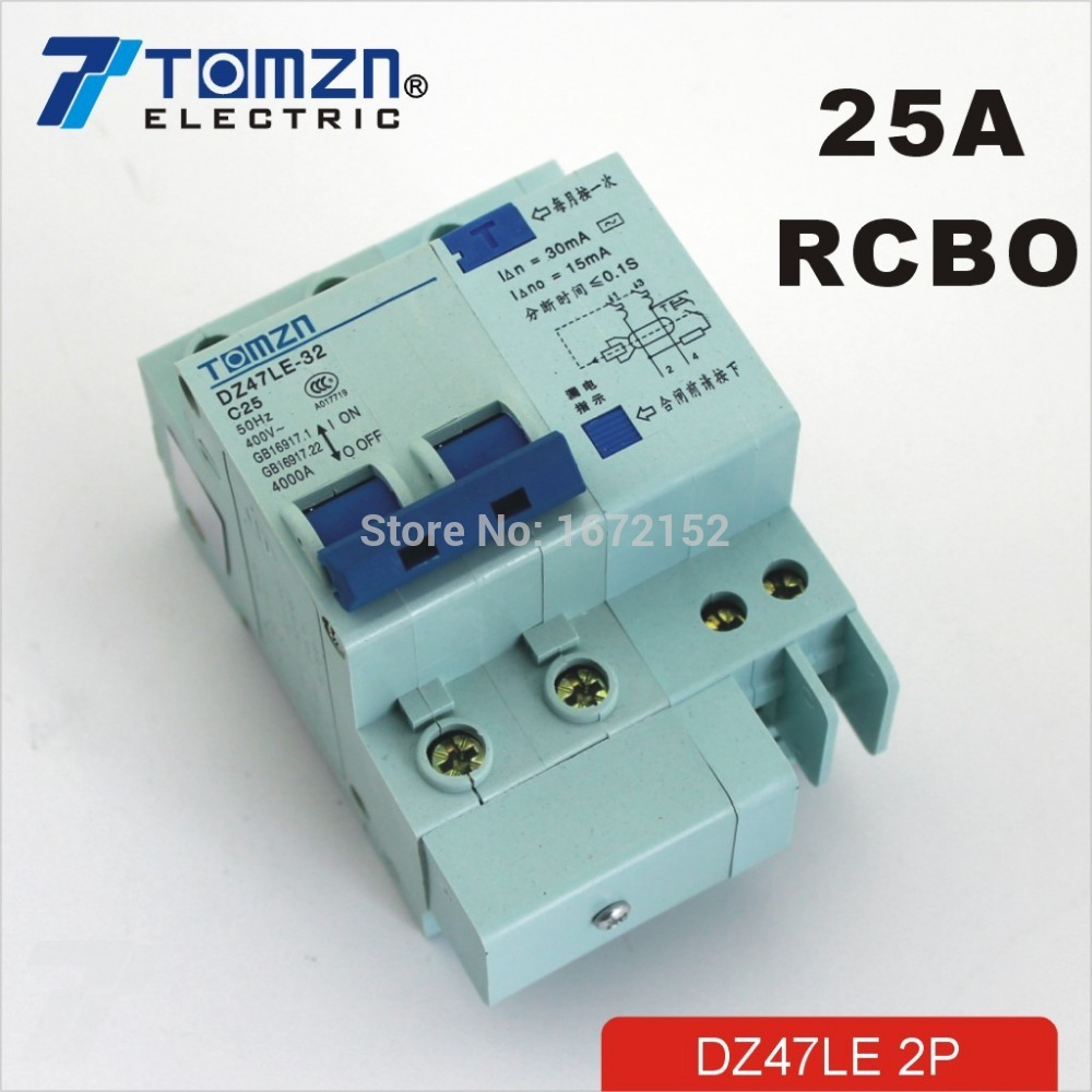 DZ47LE 2P 25A 230V~ 50HZ/60HZ Residual current Circuit breaker with over current and Leakage protection RCBODZ47LE 2P 25A 230V~ 50HZ/60HZ Residual current Circuit breaker with over current and Leakage protection RCBO