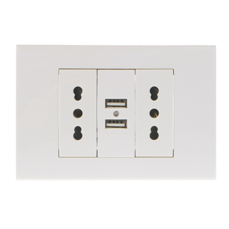 16A Wall Double Italian/Chile Plug Power Socket Adapter Dual USB Ports Panel 5V 1A L15 marking tools