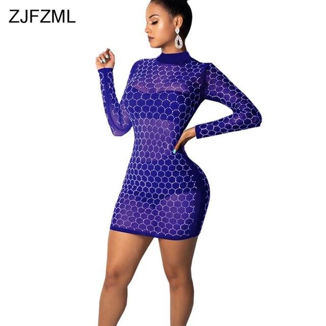 ZJFZML Sequins Sheer Mesh Sexy Bodycon Dress Women Clothing Long Sleeve  Turtleneck Club Party Dress Autumn 08e46ad68325