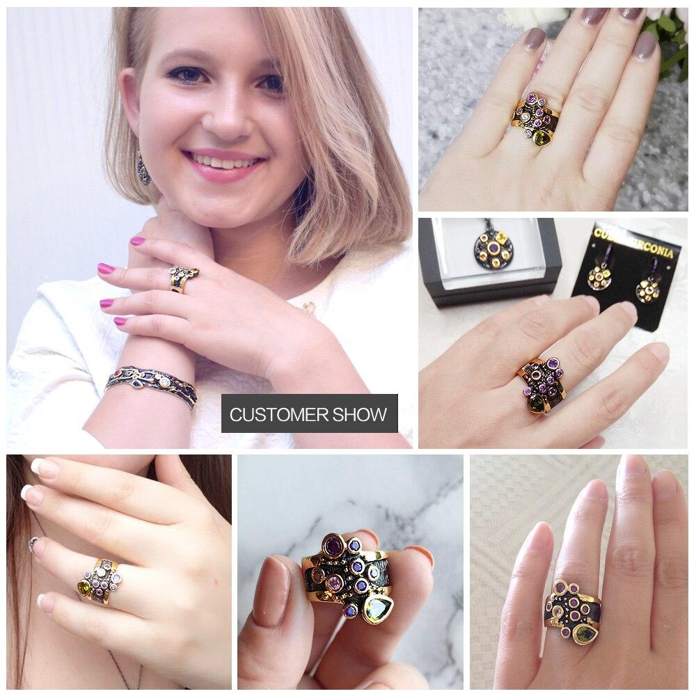 DreamCarnival Vintage vrouwen Ring Multi Shape kleurrijke CZ bruiloft - Mode-sieraden - Foto 5