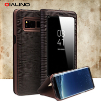 QIALINO For Samsung Galaxy S8 G950 Business Smart View Window Lizard Genuine Cowhide Leather Case For