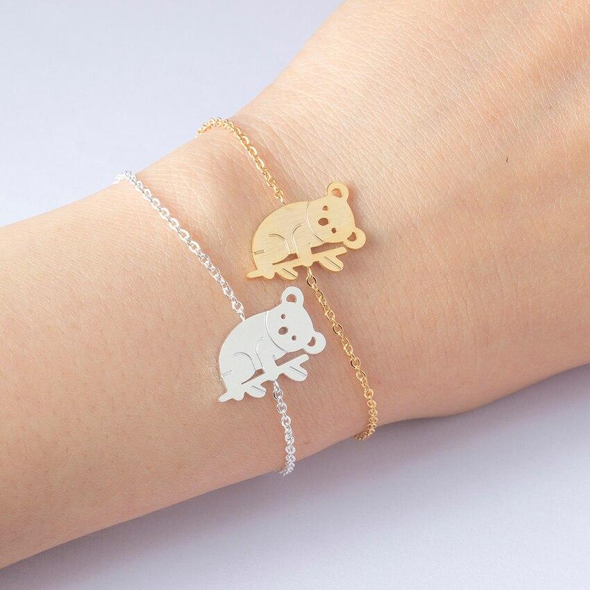 Lánc rozsdamentes acélból nők férfiak Koala karkötő aranyos állati medve karkötő Korea stílusú egyedi születésnapi party ékszerek ajándékok Bijoux