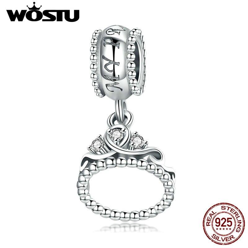 WOSTU Genuine 925 Sterling Silver Romantic Princess Crown Dangle Charms fit Silver Bracelet Necklace DIY Jewelry Making CQC739