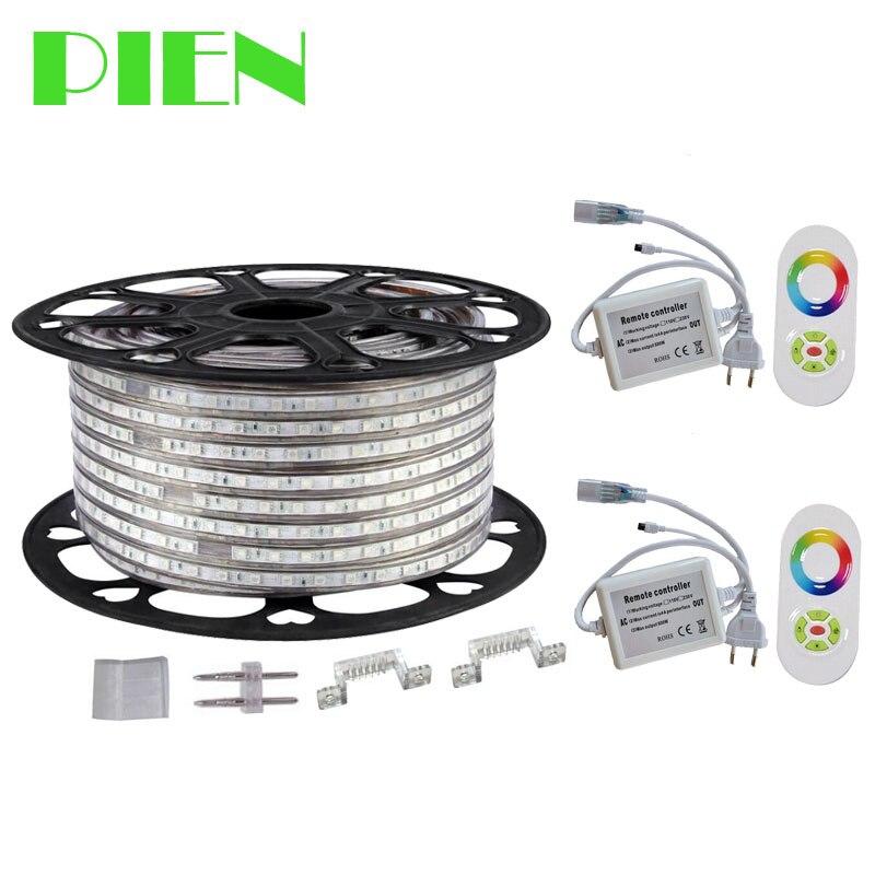 220 v 110 v LED Streifen 5050 50 mt 100 m IP67 Wasserdichte RGB RGBW Dual Farbe Seil beleuchtung für outdoor mit RF Remote controller DHL