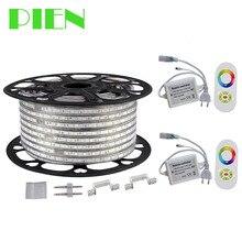220 V 110 V Led-streifen 5050 50 mt 100 mt IP67 Wasserdichte RGB Dual farbe Seil beleuchtung für outdoor mit RF fernbedienung durch DHL