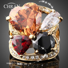 Chran Fashion Crystal Gold Color Rings Lovely Heart Design Engagement Cubic Zircon Ring New Brand Bijoux Womens Jewelry