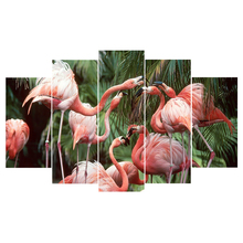Unique gift Top-Rated 5 Pieces HD Printing Painting Pink Flamingos Animal Type Poster Home Decorative Modern Bedroom Living Room