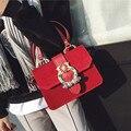 2017 Beautiful Women Fashion Handbags Velour Diamonds Gemstone Flower Hand Bag Flap Shoulder Messenger Crossbody Black Bags Tote